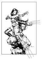 Pyslocke and Wolverine Inks by devgear