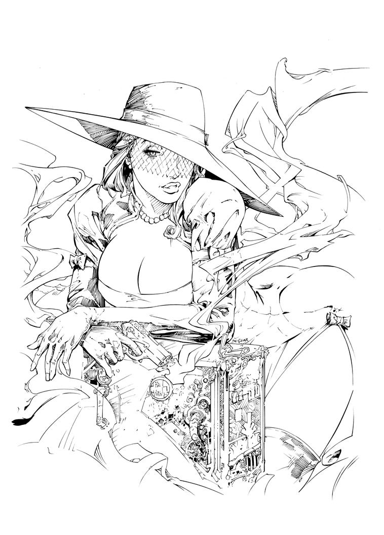 Madame Mirage Cover #1 Inks by devgear