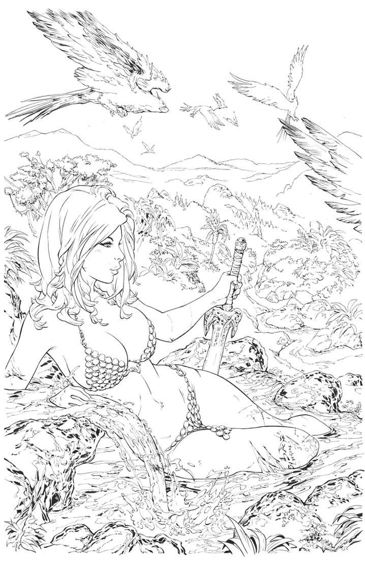 Red Sonja Inks by devgear