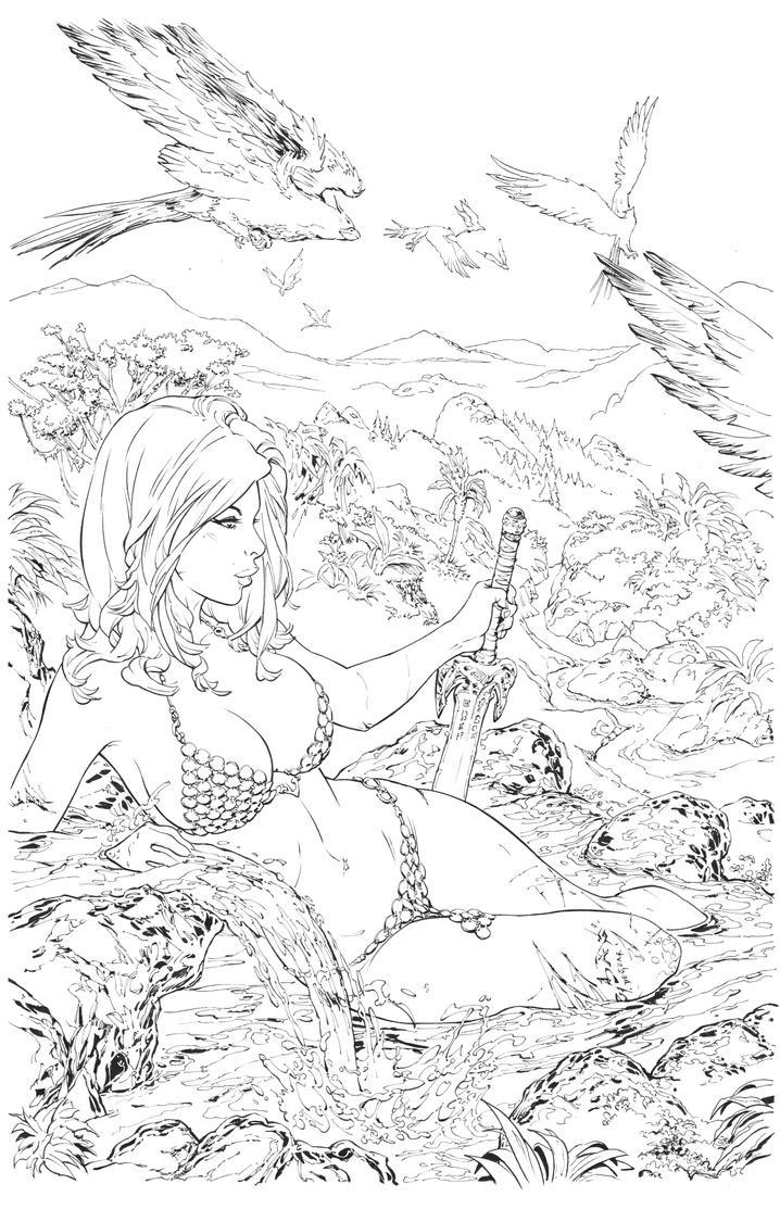 Red Sonja Inks by devgear