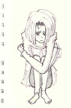 Sketch: Sad girl in pijamas