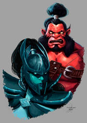 Phantom Assasin and Axe Dota 2 Fanart