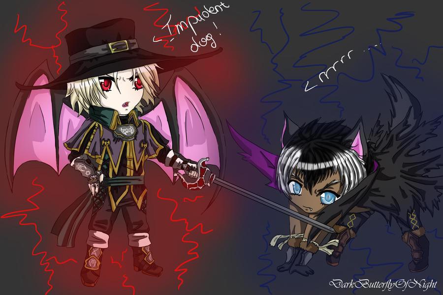 Chibi fight by DarkButterflyOfNight