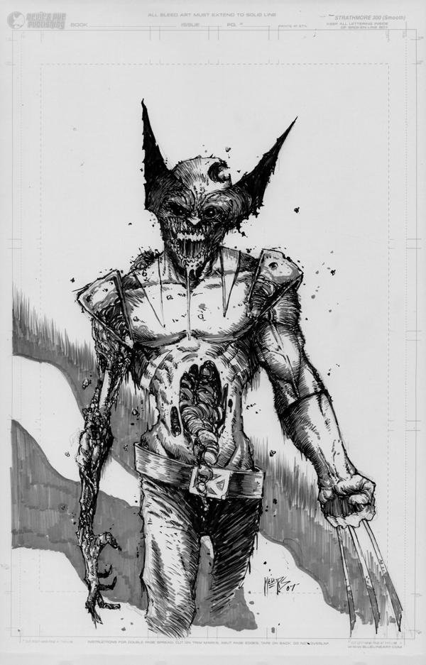 Zombie wolverine sketch by joshmedorsart