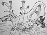 Fishing Partners: Torvosaurus and Ceratosaurus