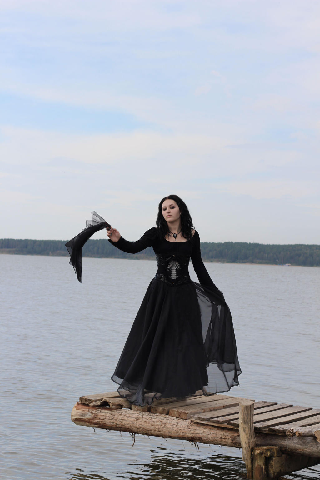 Goth Girl on the seaside III by MysteriaViolentStock
