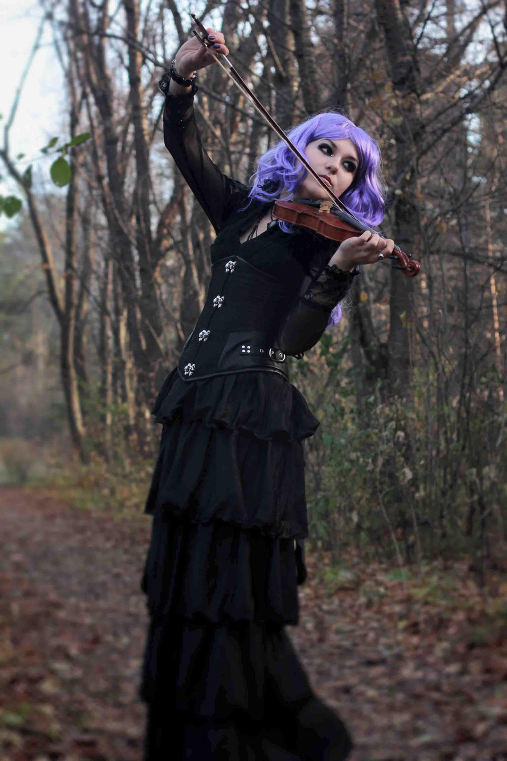 goth girl with violin stock by MysteriaViolentStock