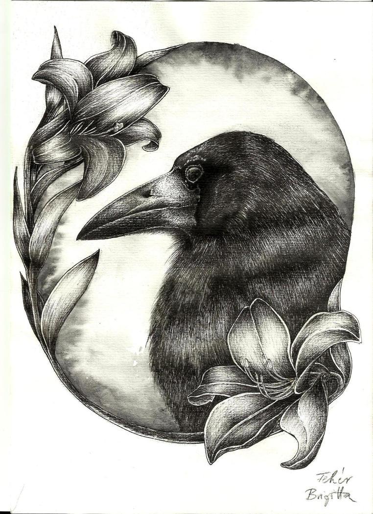 crow tattoo design by mijazaszka on deviantart. Black Bedroom Furniture Sets. Home Design Ideas