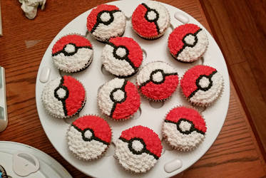 Pokeball cupcakes by darklizard14