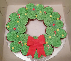 Cupcake Cake Christmas Wreath by darklizard14