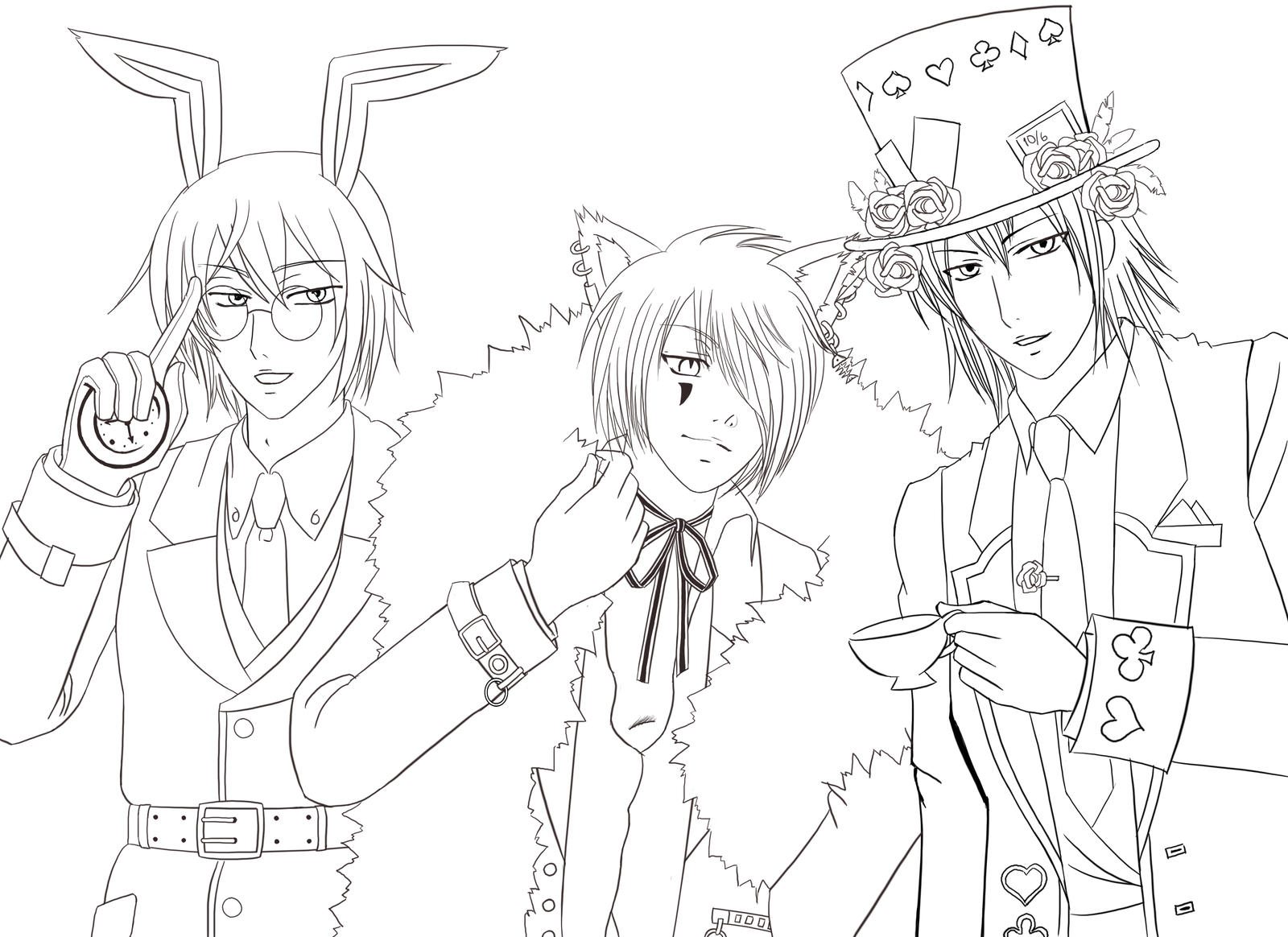 Alice Boys Sketch By Black Ageha On Deviantart Anime Boy And Coloring Pages