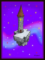 Sky Island Tower with Rainbow Cloud by Mistgod