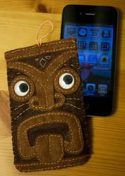 Felt Tiki Head iPhone Sleeve by hasuhime