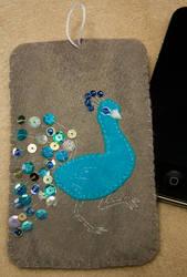 Felt Peacock iPhone Sleeve by hasuhime