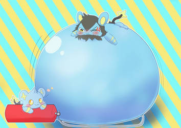 Being inflated Luxio with air tank. by koujikouji326