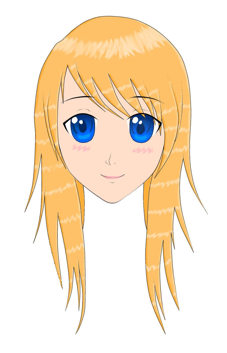 Orange hair blue eyed anime girl by Glissel on DeviantArt