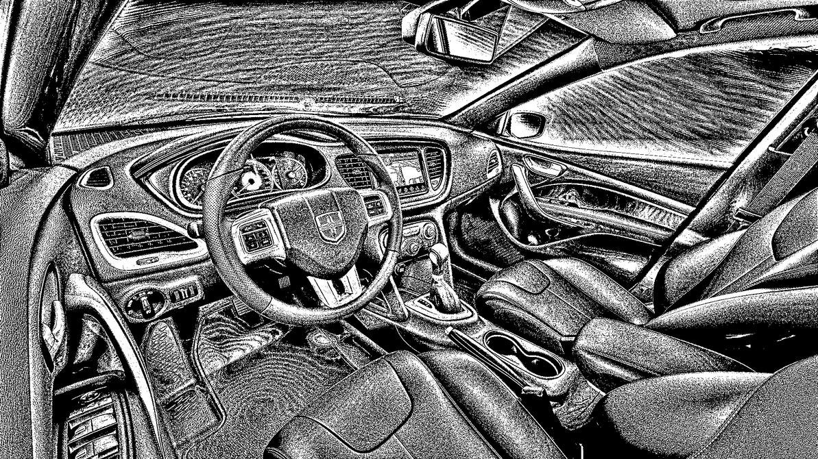 2012 Dodge Dart Black and White by photoman356