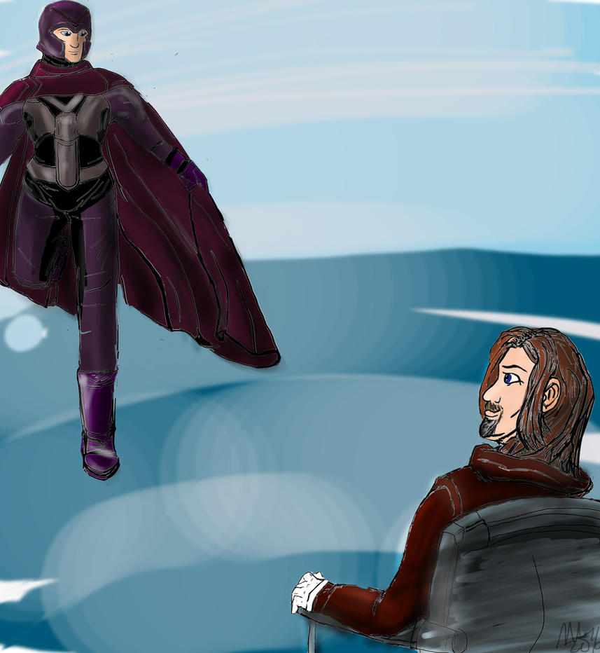 Charles watches Erik float to the ground.