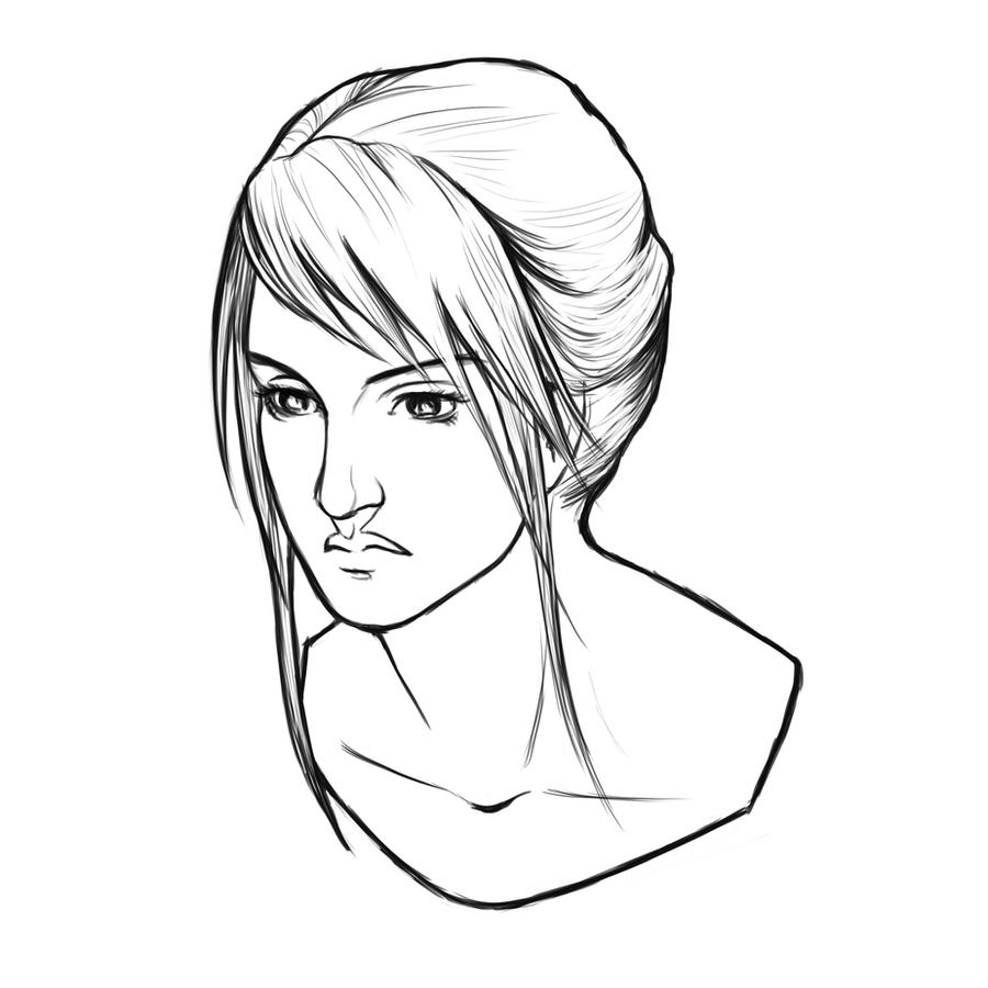 Line Drawing Of Female Face : Woman portrait lines by xeiart on deviantart