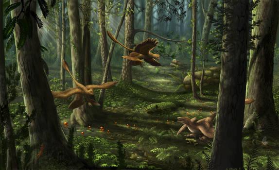 Liaoning Scene: Microraptor and Sinornithosaurus