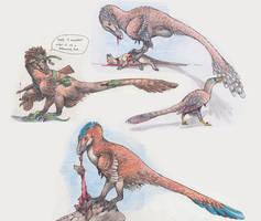 Three Dromaeosaur RPR Doodles by EWilloughby