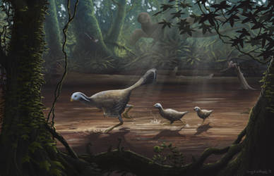 Caudipteryx with Chicks by EWilloughby