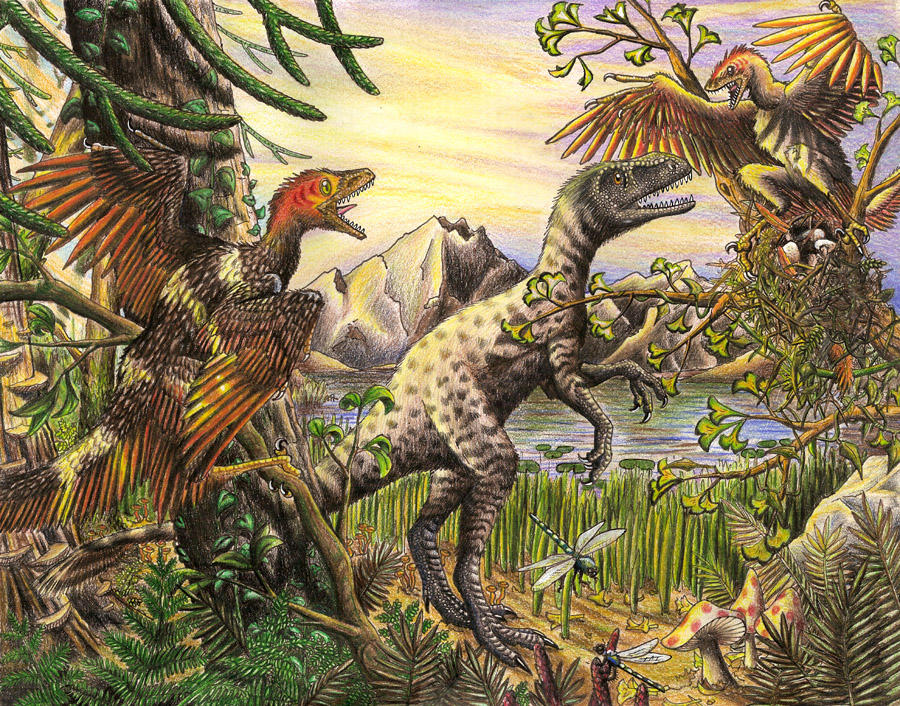 Dilong and Sinornithosaurus by EWilloughby