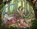Deinonychus Feast by EWilloughby