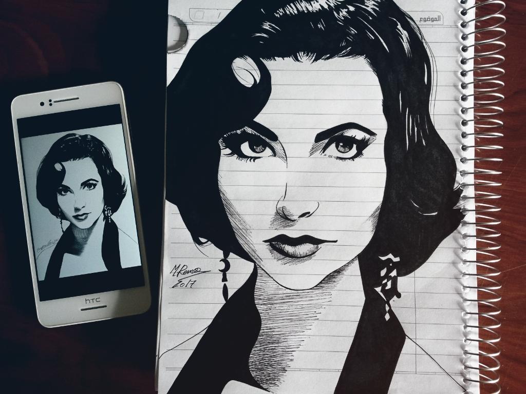 Elizabeth Taylor ink portrait by Xezra
