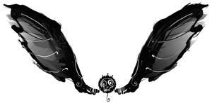 black skull flies. by boobookittyfuck