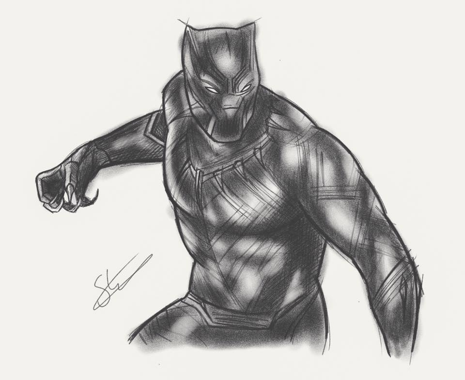 Captain America Black Panther Sketch By Scottstrachanartist On DeviantArt