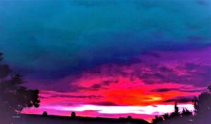 Iridescent summer sunset