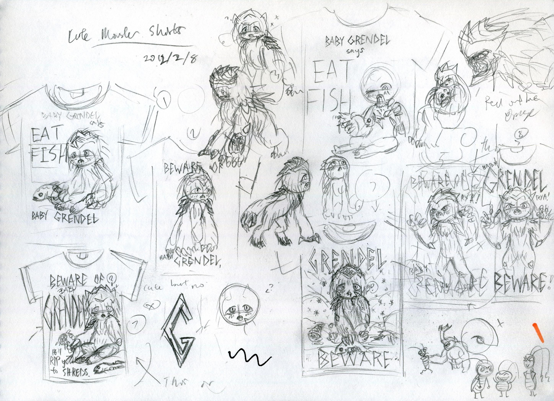 Shirt design sketches -  Cute Monster Shirt Design Sketches 1 By Kaz102