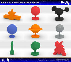 Space Exploration Meeples and Game Pieces