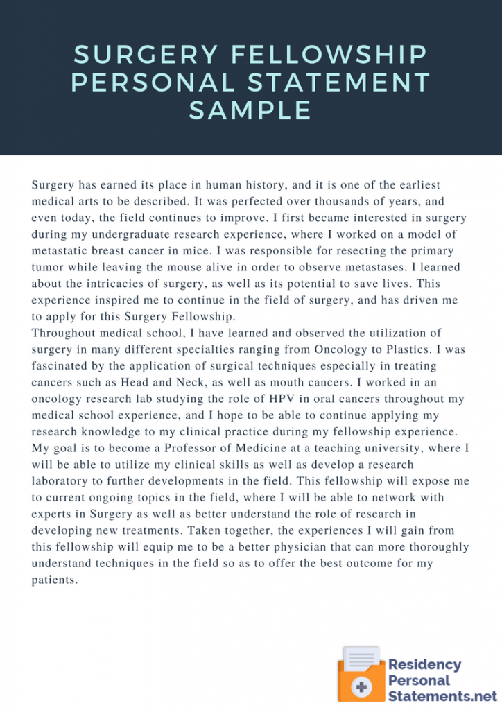 Surgery Fellowship Personal Statement Sample by FellowshipPS