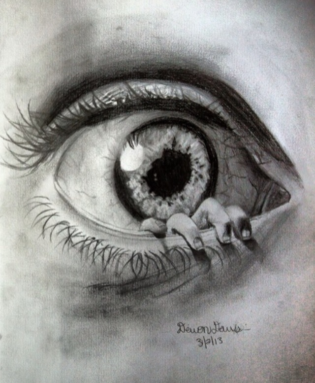 new and improved creepy eye drawing! by DevonDavis