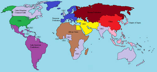 Monstrous War World Map (Year 2050)