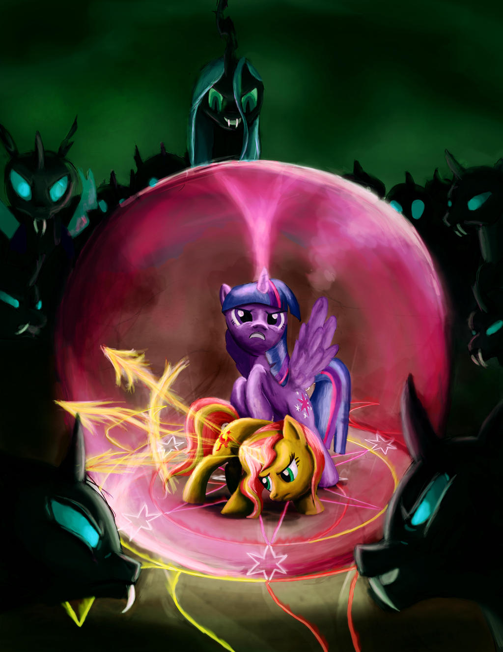 Twilght and Sunset vs. the Changelings by Fox-Moonglow on DeviantArt: fox-moonglow.deviantart.com/art/Twilght-and-Sunset-vs-the...