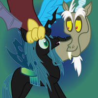 Discord and Queen Chrysalis w/t Background by romansiii