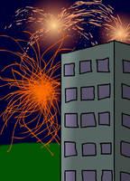 Fireworks over a skyscraper