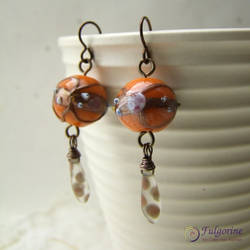 Orange and copper earrings by cvalphen