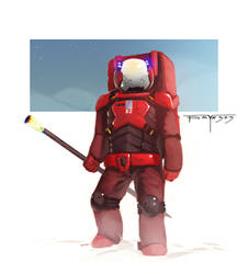Red space man by psyk323