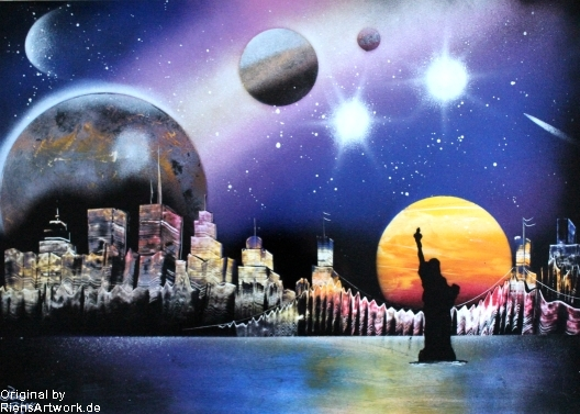 City Skyline Spray Paint Art Photopaper By Riensartwork On Deviantart
