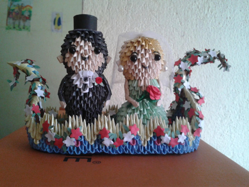 3d origami bride and groom 1 by sunitapatnaik on deviantart