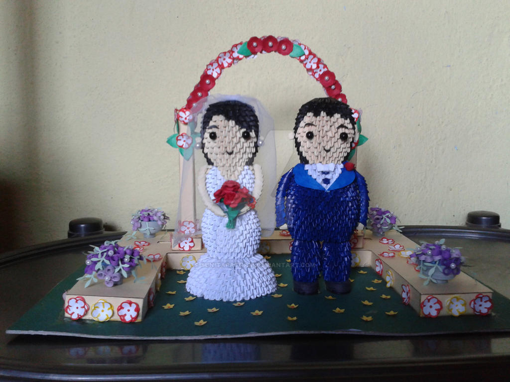 3d origami bride and groom 2 by sunitapatnaik on deviantart