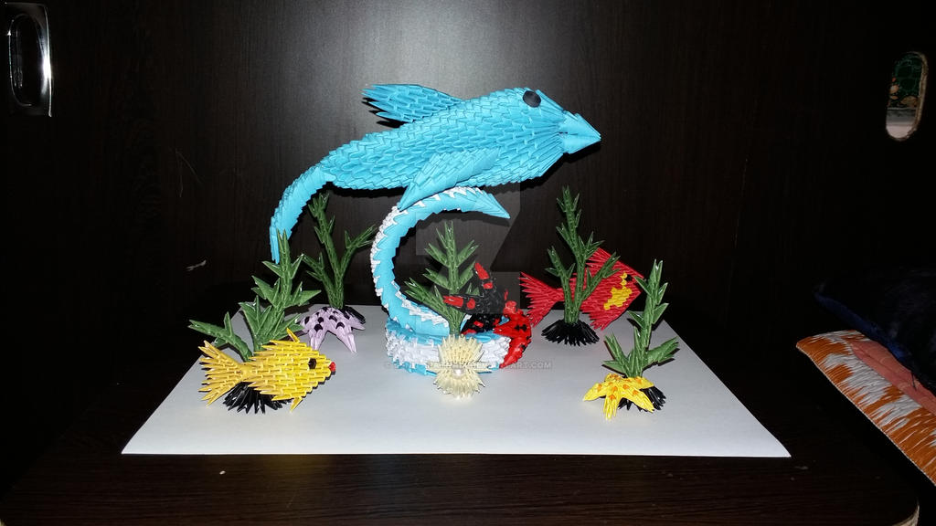 My 3d Origami Dolphin 1 By SunitaPatnaik