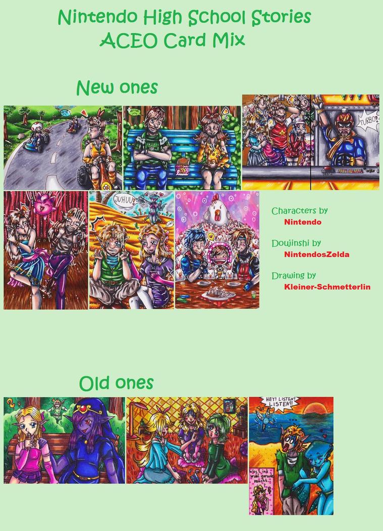 Nintendo High School Stories ACEO Card Mix by Kleiner-Schmetterlin