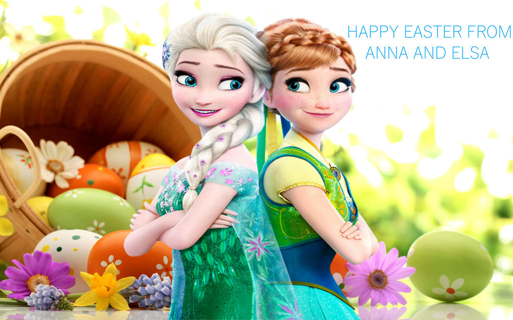 Happy Easter From Anna And Elsa by GreyKittens on DeviantArt