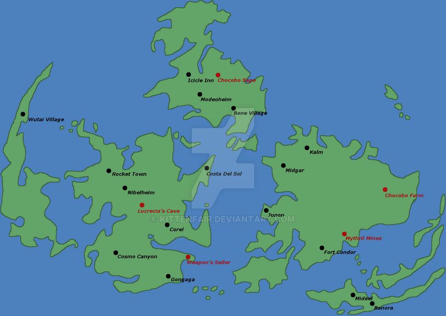 World Map of Crisis Core by KittenFair on DeviantArt