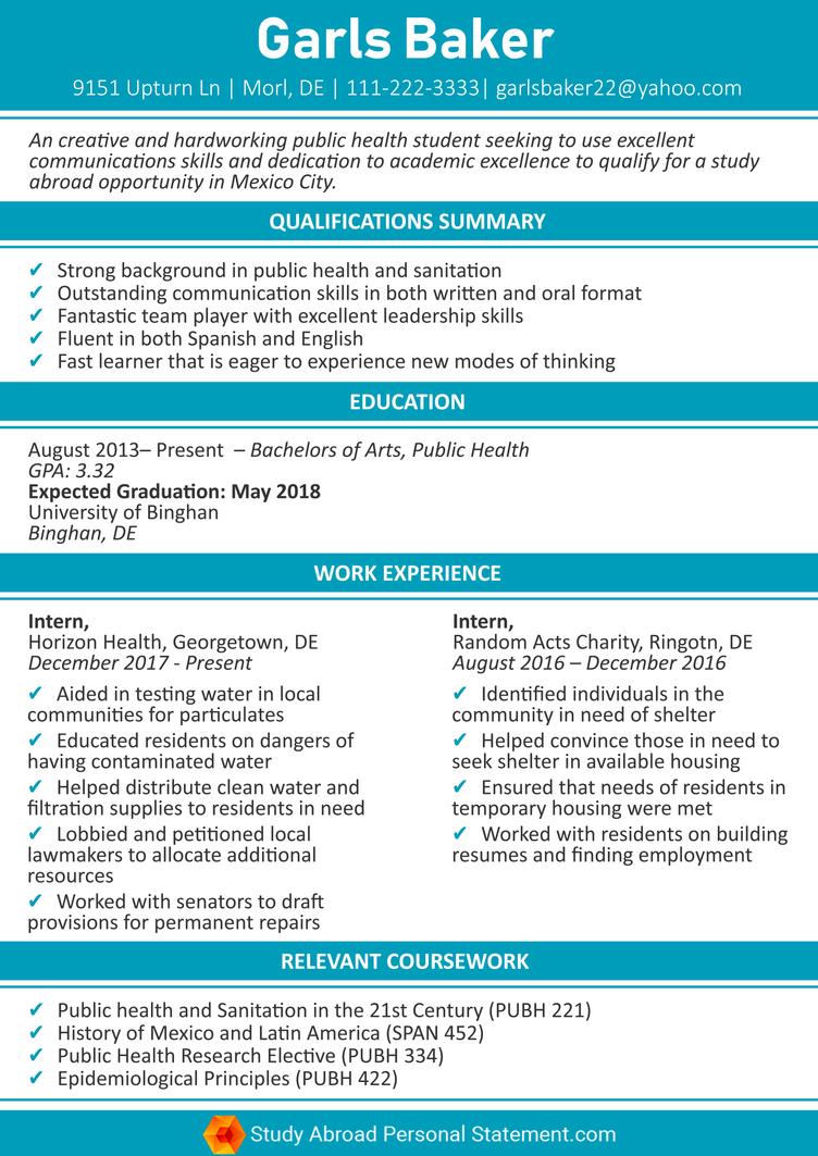 study abroad resume sample by studyabroadresume